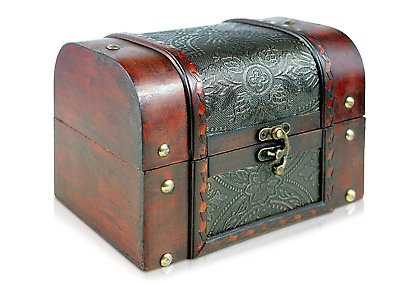 Vintage Antique Wooden Pirate Treasure Chest Storage Container Jewellery Box New