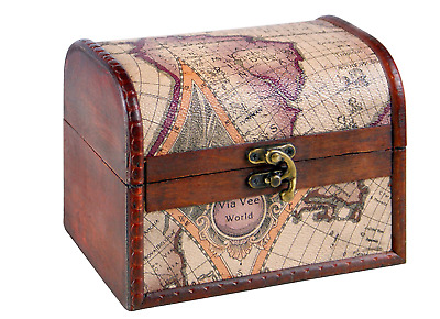 Vintage Antique Wooden Pirate Treasure Chest Storage Container Jewellery Box Map