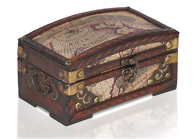 Vintage Antique Pirate Treasure Chest Wooden Storage Container Jewellery Box Map