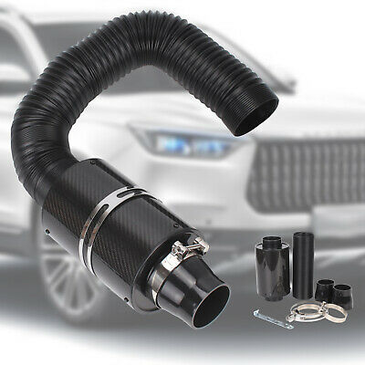 "3"" Universal Car Cold Air Filter Feed Enclosed Induction Intake Pipe Hose Kit"