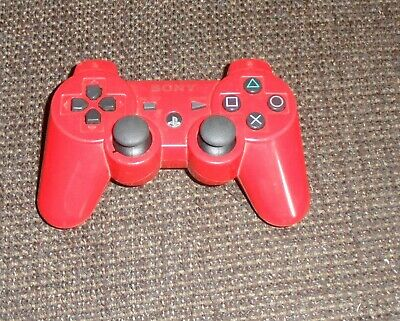 Genuine Official Sony PS3 Sixaxis Dual Shock 3 Wireless Controller (RED) .