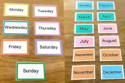Days of the Week & Months Of The year Flash Cards Early Learning Resource Sen