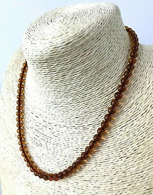 Genuine Natural Baltic Amber polished round beads necklace jewelry 9,4gr #5814