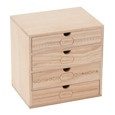 BNWT Milward  Solid Pine Wooden Tabletop Storage Drawers Hobby Craft Sewing