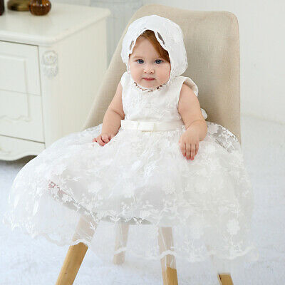 Baby Embroidery Lace Baptism Dress Blossom Christening Birthday Gown with Bonnet