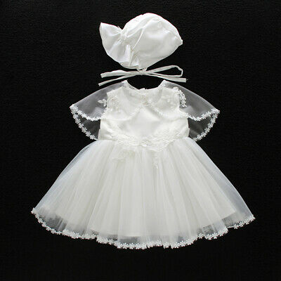 Elegant Baby Christening Gown Lace Baptism Dress Embroidery Tutu Cape Bonnet