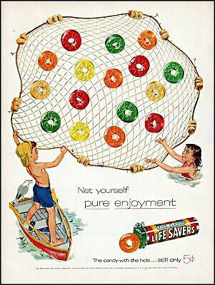 1955 Kids fishing net row boat Life Savers candy roll vintage art print ad adl78