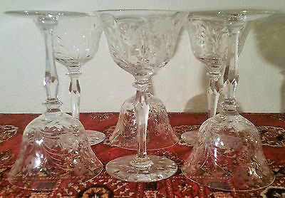6 Pairpoint cut crystal goblet wine cordial vtg boston art glass stemware flower