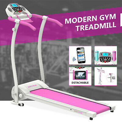 Electric Treadmill Motorized Folding Running Machine with Bottle PAD Holder Pink