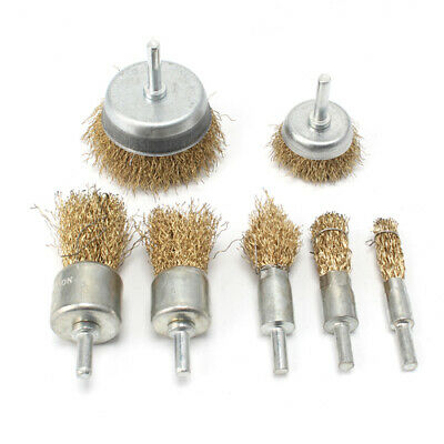 """7Pcs 16-75mm Brass Coated Steel Wire Brush Wheel Cup Brush With 1/4"""" Shank Set"""