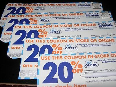 (5) Bed Bath and Beyond 20% off Single Item Coupons