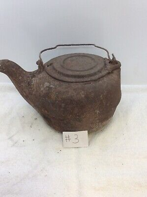 vintage antique cast iron coffee/tea Pot Swivel Lid