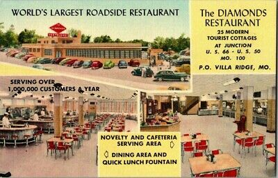 1940'S. The Diamonds Restaurant. Villa Ridge, Mo. Route 66 Postcard Ck3