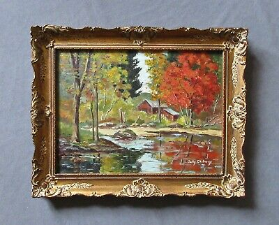 Listed Artist Sally Chilvers (20thc) Impressionist Red Barn Oil Landscape Painti