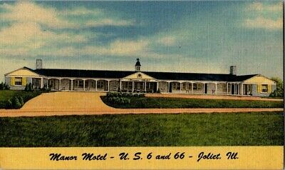 1940'S. Manor Motel. Route 66, Joliet, Ill. Postcard Ck3