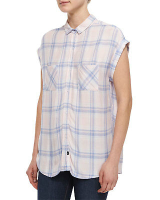 fb519c7634af RAILS Britt Plaid Cap Sleeve Button Down Shirt Pink Blue Melange Check M  $135