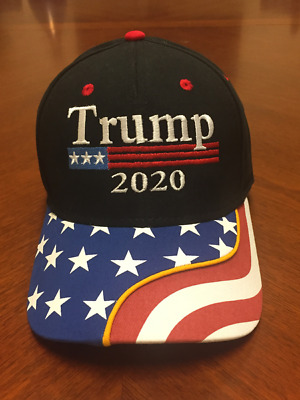 Donald Trump 2020 Hat Black USA Flag Make America Great Again Cap