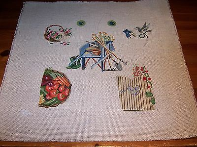 Hand Painted Needlepoint Canvas Gardening Fence Veggies Wheelbarrow Floral