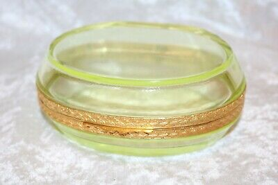 TS Gilded and Polished Vaseline Jewelry Casket or Glass Trinket Box!  Mint