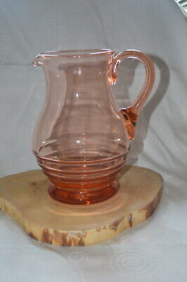 Art Deco Vintage Glass Pitcher/Jug in Salmon Pink