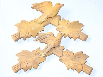 "Lot of 2 Vintage Wooden Leaves Birds Cuckoo Clock Parts Top Topper 7 3/4"" .."