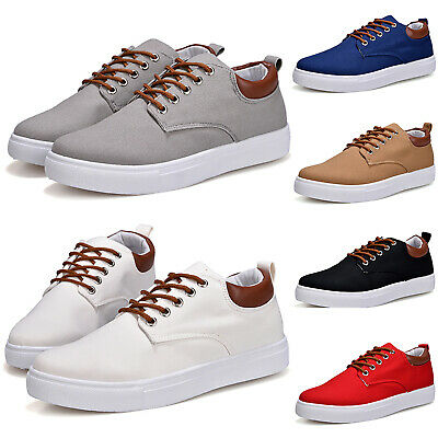 Men's Classic Lace Up Casual Canvas Shoes Plimsolls Pumps Skates Trainers Size