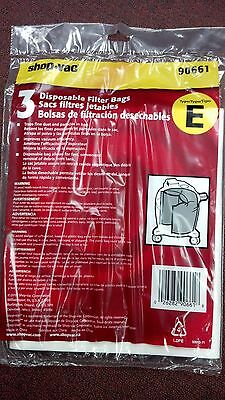 SHOP-VAC, TYPE E, 3 Disposable Filter Bags, FOR 5-8 Gallon Tanks, PART# 90661