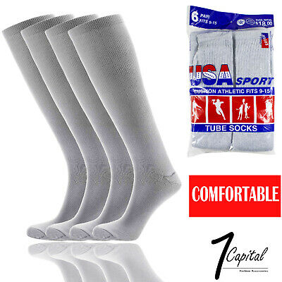 6 12 Pairs Mens Gray Sports Athletic Cotton Comfort Tube Socks Size 9-15 USA