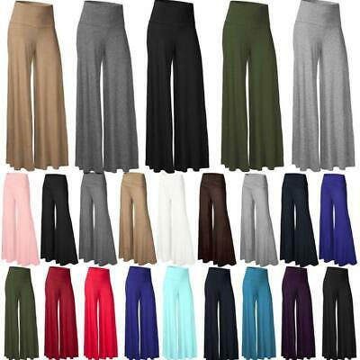 Womens Ladies Palazzo Solid Flared Loose Yoga Wide Leg Pants Long Baggy Trousers