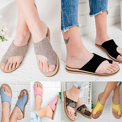 Women Slip On Sandals Ladies Comfy Flip Flop Slippers Shoes For Bunion Corrector