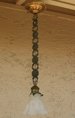 Antique Vintage Brass Hanging Light Fixture Concealed Wire Shield Chain W Shade