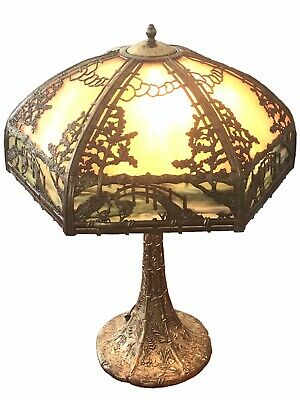 Early 20Th C Antique Signed Rainaud Slag Glass Panel Lamp ~Japanese Garden Scene
