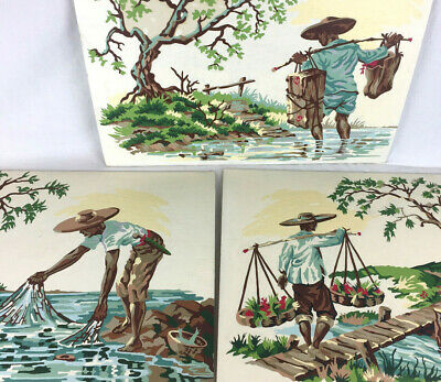 Paint by Number asian farmer set 3 unframed completed PBN MCM