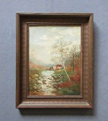 Antique 19th Century American Folk Art Oil Landscape Painting with Figures