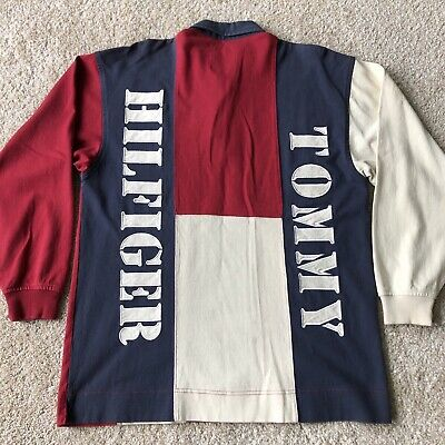 c77126c6 Vintage Tommy Hilfiger Vertical Spell Out Rugby Long Sleeve Stars Shirt  Size M