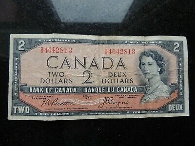 1954 BANK CANADA $2 TWO DOLLARS BEATTIE COYNE G/B 4642813 DEVILS FACE BC-30b