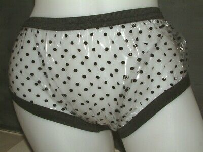 AB ADULT BABY PVC PLASTIC CLEAR  POLKA DOT  PANTS Knickers   MADE IN UK SIZE M