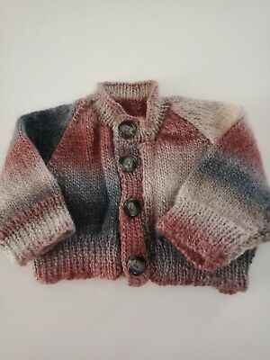 BABY BOYS Multicoloured Earth Coloured Cardigan SIZE 00 AS NEW supersoft
