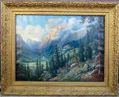 Antique Landscape Mountain Scene Oil on Canvas Painting by Fletcher Sultzer