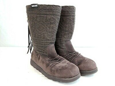 Mukluks  Womens size 7 Tall sweater boots shoes knit brown