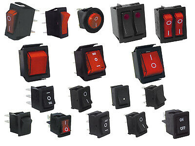 RED ROCKER SWITCH IGNITION SYMBOL POWER ON OFF DOUBLE POLE 22X31MM 230V 4 PIN
