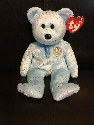 76a685ee207b27 TY BEANIE BABY 10th Anniversary Blue Decade Bear - New With Tag ...