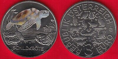"Austria 3 euro 2019 ""The Turtle"" Colored UNC"