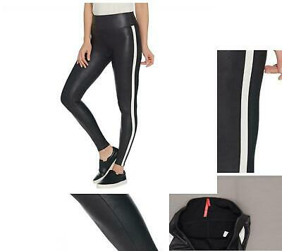 746bc793fd03e New Spanx Faux Leather Black and White Striped Leggings. A341652