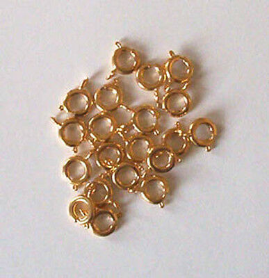 20 gold plated 7mm bolt rings, findings for jewellery making crafts