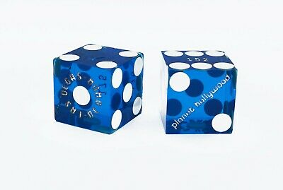 MATCHING PAIR OF PLANET HOLLYWOOD LAS VEGAS CASINO DICE - clear BLUE 2 of #303
