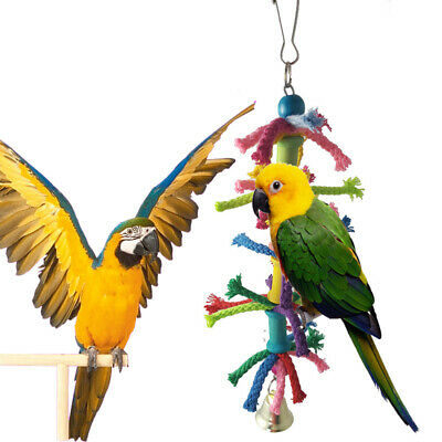 Bird Parrot Toy Hanging Swing Cage Rope Pet Chew Bell Parakeet Budgie Bite Climb