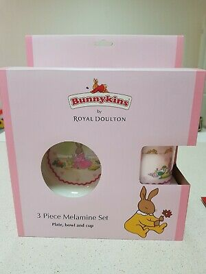 BUNNYKINS Royal Doulton 3 piece Melamine Dinner Set Cup Bowl Plate Baby Gift