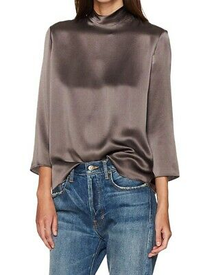 efef1900d14d14 Vince NEW Dark Gray Women's Size Small S Silk Solid Mock Neck Blouse $295  199
