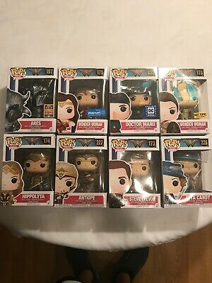 Funko Pop Wonder Woman Movie 8 Figure Lot Ares Antiope Trevor Etta Exclusives